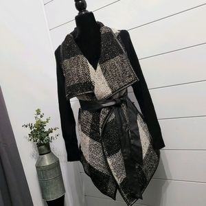 Wrap Coat with PU Leather Accents